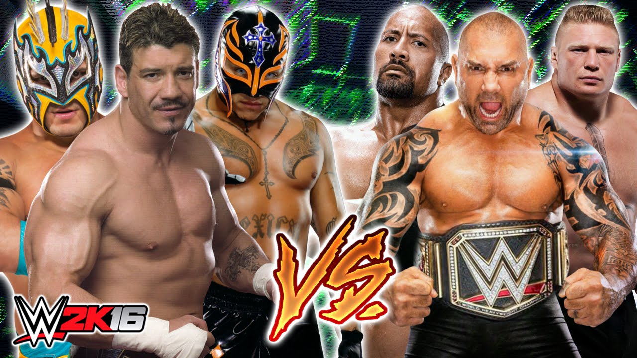 rey mysterio eddie guerrero and kalisto vs the rock