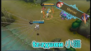 RANK 1 FANNY - tz·zχuαи 小璐 | 1 HP TOWER DIVE | INSANE MANIAC QUADRAKILL (Mobile Legends)