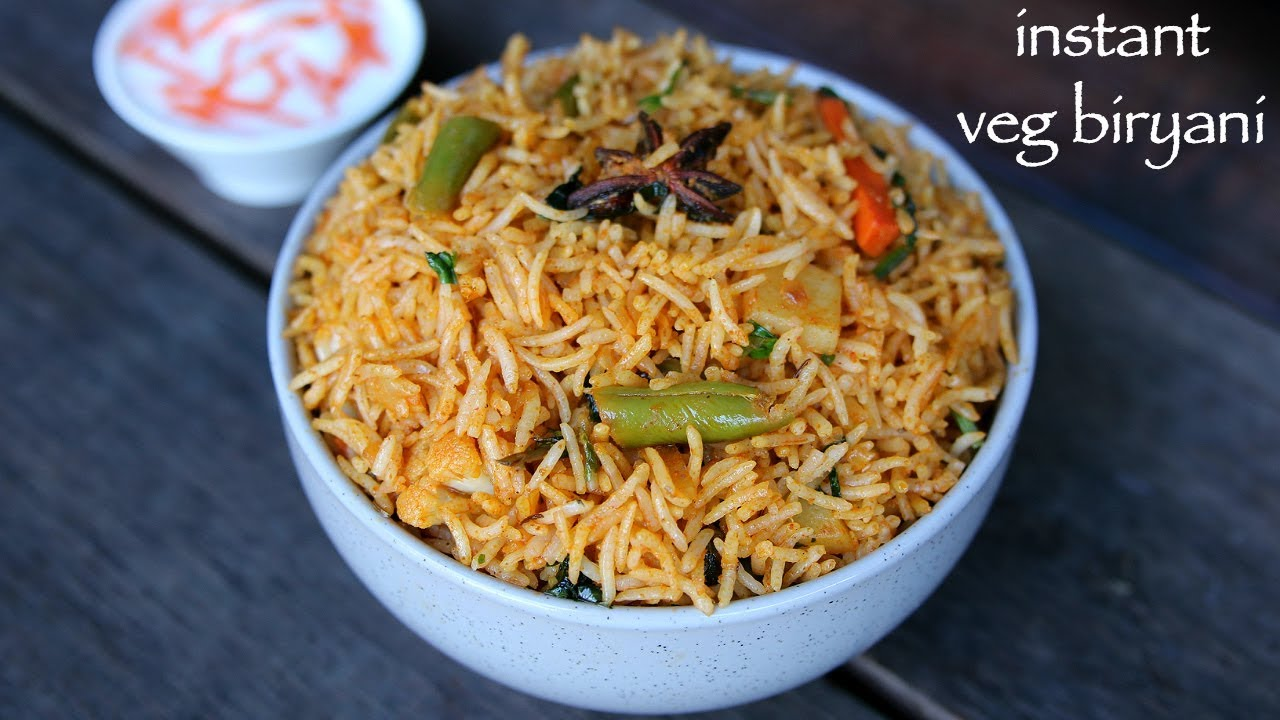 Instant Biryani Recipe Instant Veg Biryani Easy Vegetable Biryani