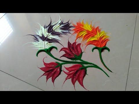 Use spoon to make beautiful,attractive & amazing rangoli design by Jyoti Raut rangoli