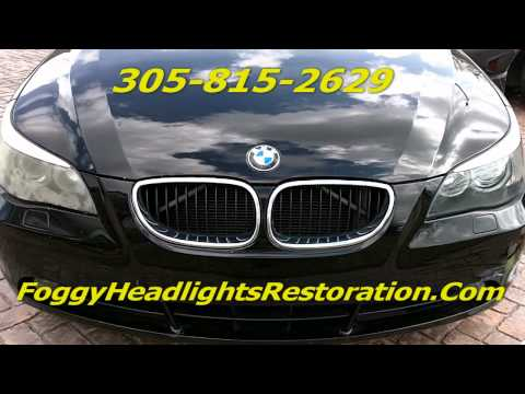 Bmw 525i Headlight Cleaning | Foggy Headlights Cleaning Service In Miami | Pembroke Pines