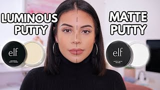 NEW ELF PUTTY PRIMERS: MATTE VS LUMINOUS / Which One Is Better? *12 hour wear test*