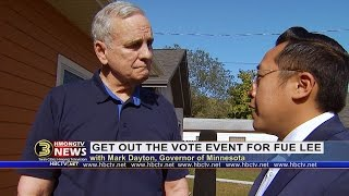 3 HMONG NEWS: Chonburi Lee talks with Gov. Mark Dayton at a get out the vote event for Fue Lee