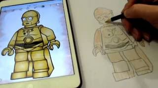 How to draw robot c-3po LEGO Star Wars(Lego Star Wars How fast to draw C-3po How to draw robot c-3po LEGO Star Wars I think a lot of parents watched Star Wars, and bought LEGO toys or LEGO ..., 2016-12-06T05:46:50.000Z)