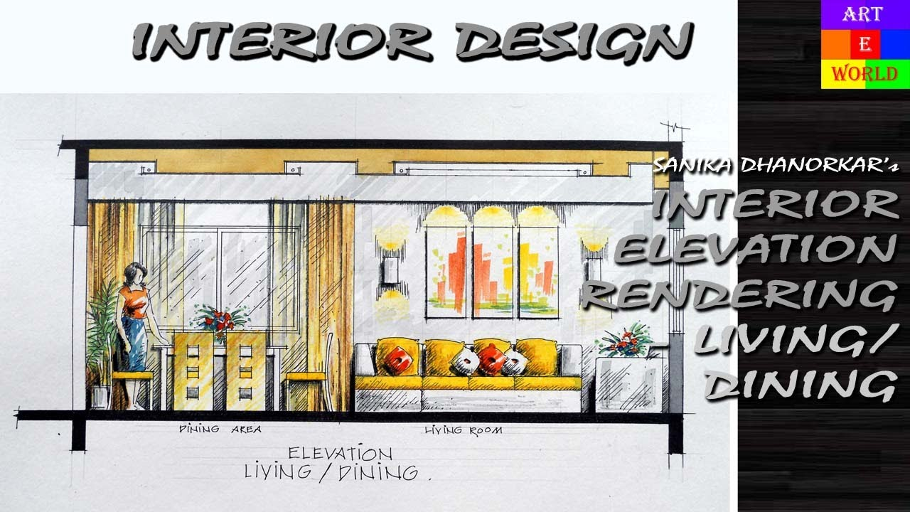 36 manual rendering 2d interior design elevation tutorial demo watercolour techniques youtube - 2d Interior Design