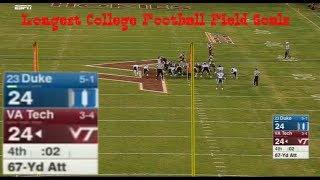 Longest College Football Field Goals