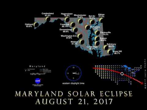 Visualization of the Aug. 21 partial solar eclipse in Maryland