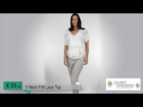 V Neck Frill Lace Top ( White )