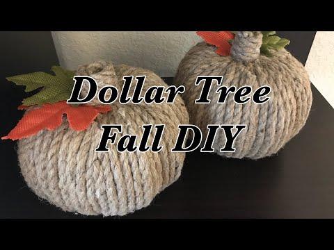 Dollar Tree Farmhouse Fall Rope Pumpkin Decor DIY