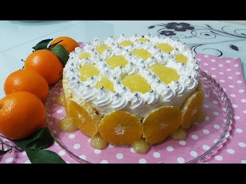 10 Dakikada Doğal Portakallı Yaş Pasta Tarifi-Dolgu Kremalı Pasta