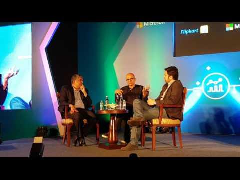 Microsoft CEO Satya Nadella and Flipkart co-founder and CEO Binny Bansal