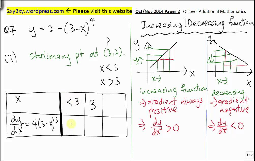 GCE O Level Add Maths (Past year papers) 2014 Oct Paper 2 Q7 Solution