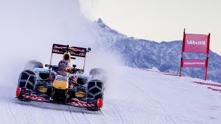 Verstappen pilote la Red Bull sur la neige