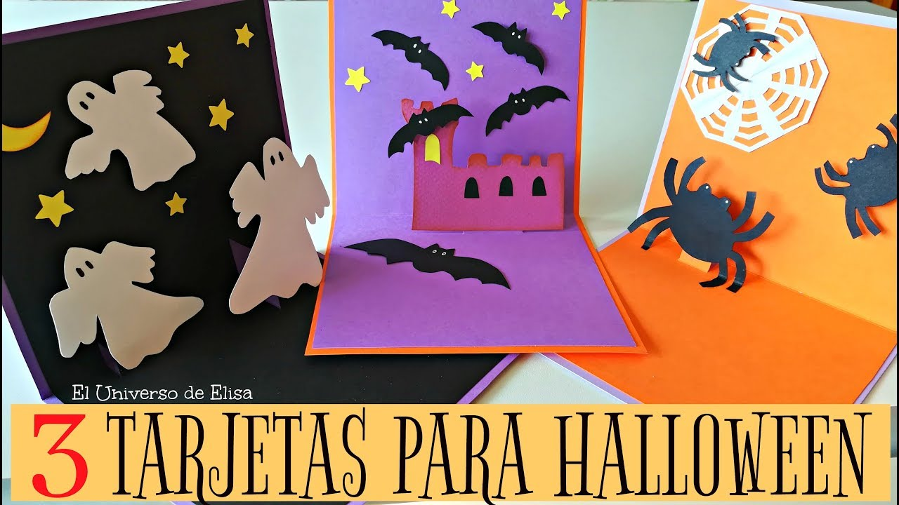 3 Tarjetas Para Halloween 3 Invitaciones Fáciles Para Halloween Y El Día De Los Muertos