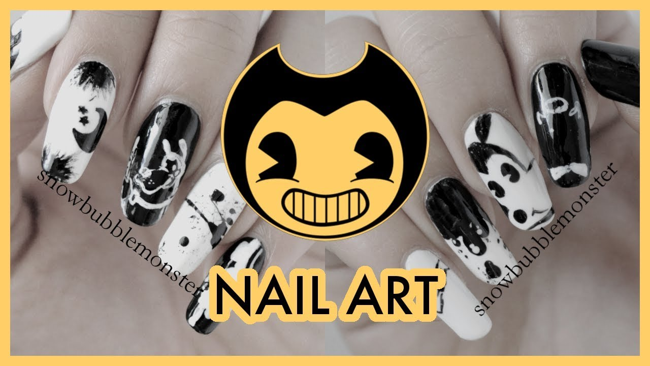 NOTD : Bendy and the Ink Machine Nail Art | snowbubblemonster - YouTube
