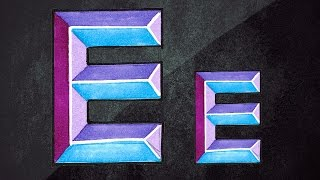 How To Draw 3D Letters || 3D Graffiti || Draw Letter E In Chisel Letters