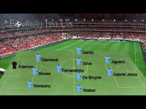 Brighton  0-2 Manchester City Premier League 2017/2018 - Manchester City Lineup