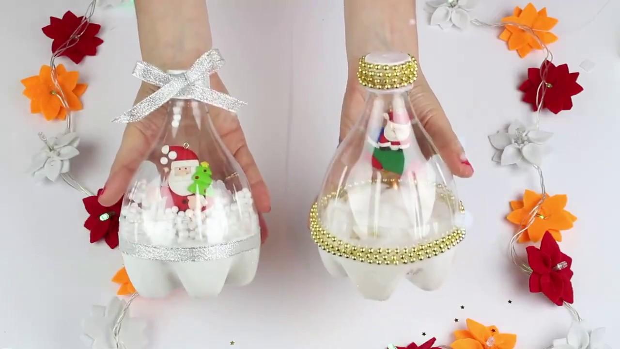 Decoraci n navide a con una botella de pl stico navidad - Adorno de navidad manualidades ...