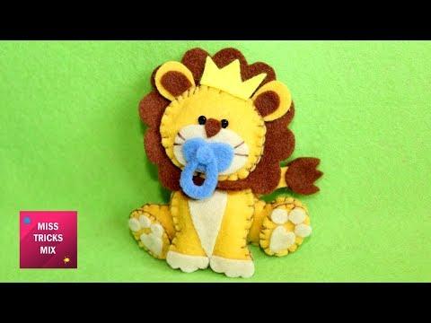 Pretty Felt Lion - DIY : How To Make A Pretty Felt Lion / Kids Crafts -  Felt Crafts