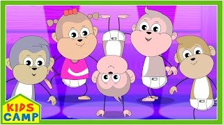 Five Little Monkeys Jumping On The Bed | Nursery Rhymes | Popular Rhymes from Kidscamp