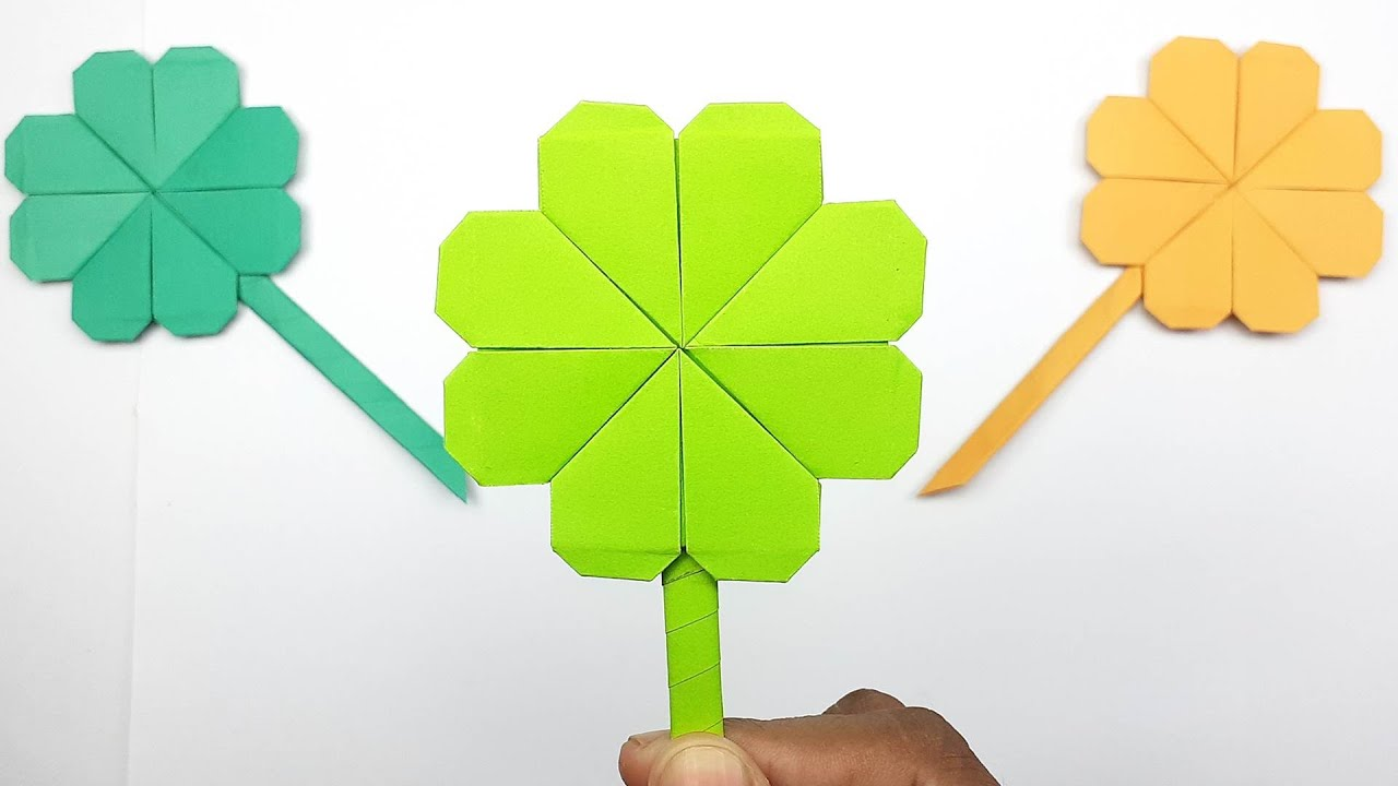 How to Make a Four Leaf Clover Step by Step | Origami Clover Flower Making | Easy Paper Crafts
