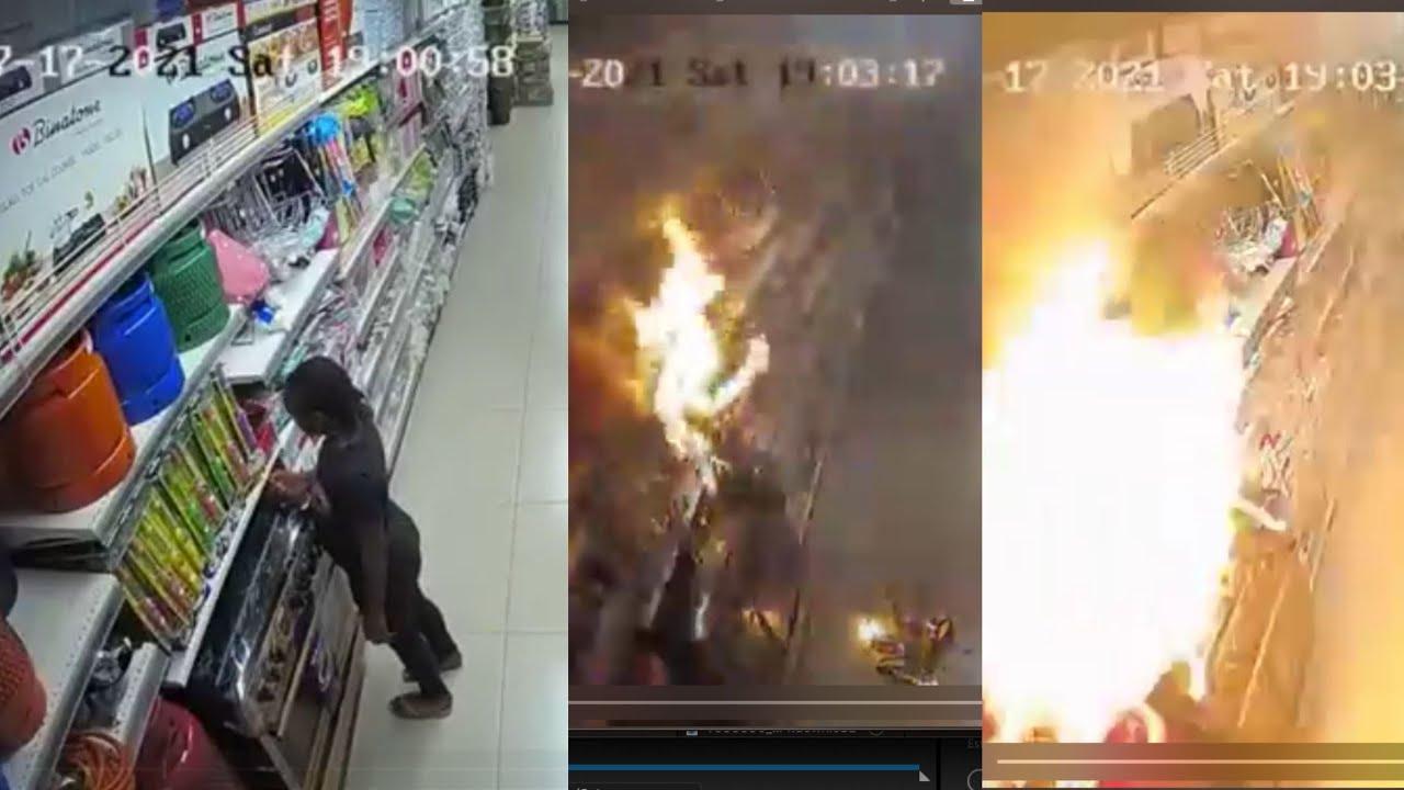 Download Lady set a Supermarket on fire  Ebano supermarket   ebeano supermarket on fire