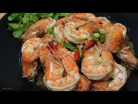 กุ้งผัดพริกขี้หนูสวน อร่อยเผ็ดร้อนทำง่ายส่วนผสมน้อย Fried shrimp with chilies
