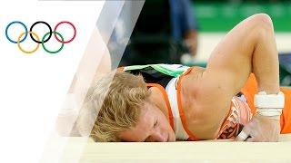 Defending champ slips from horizontal bar