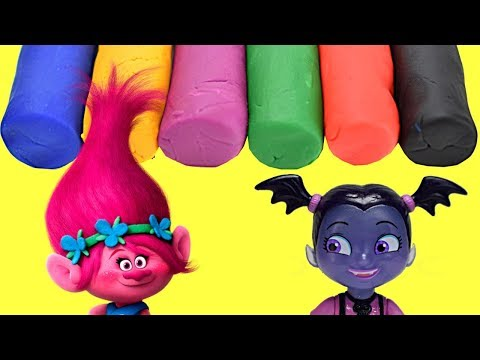 Trolls Poppy and Vampirina Ballerina Learn Colors with PLAY DOH, Cookie Cutter Cutouts