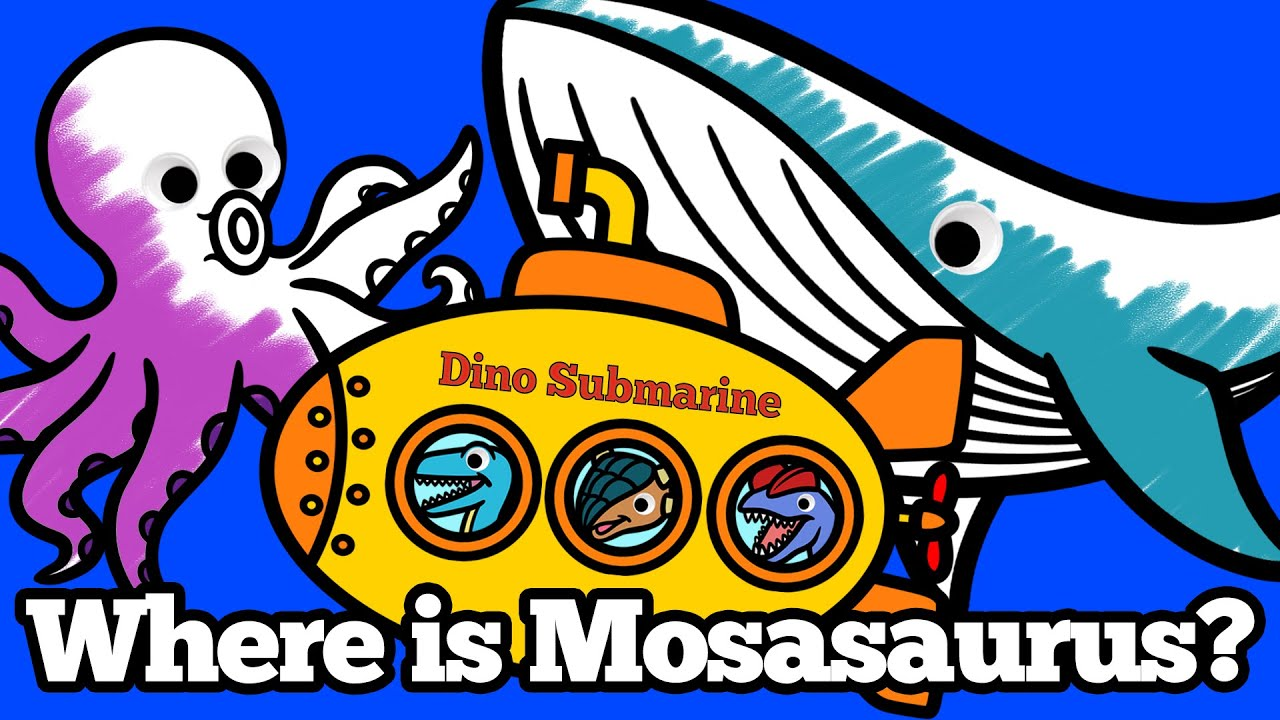 Dinosaurs take a Submarine to meet Mosasaurus!   Learn Sea Animals for Kids   Educational Video