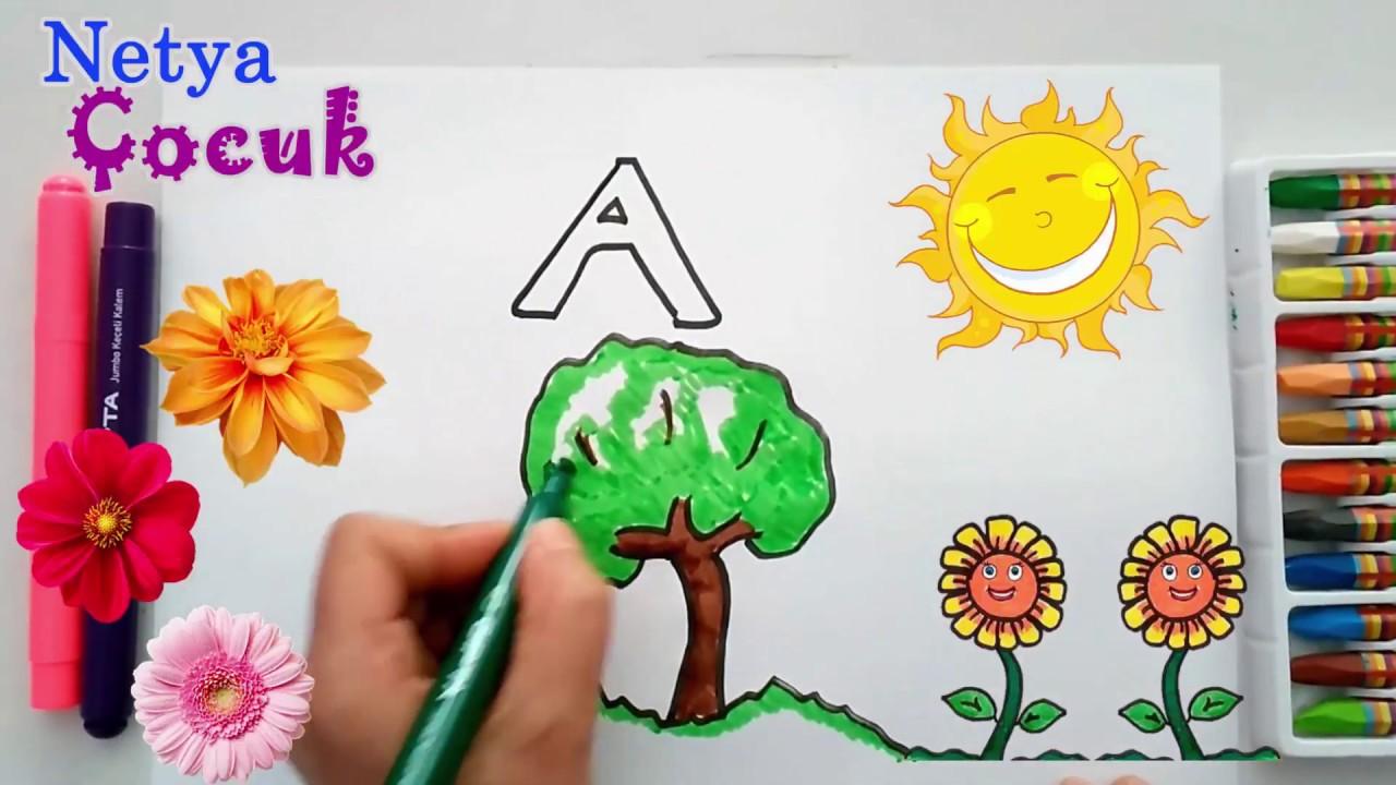 çok Kolay Ağaç çizimi Ve Boyama A Harfi çizimleri çocuklar Için