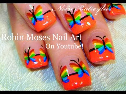 Nail art easy rainbow butterfly nails cool neon nail design nail art easy rainbow butterfly nails cool neon nail design tutorial youtube prinsesfo Images