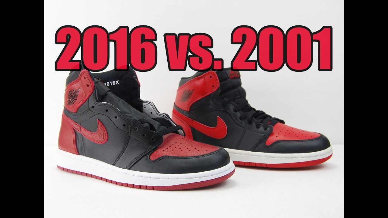 huge discount f0b5d a5470 2016 vs. 2001 Air jordan 1 Bred Comparison