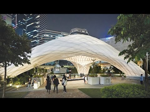 Students erect arching bamboo events pavilion in Hong Kong