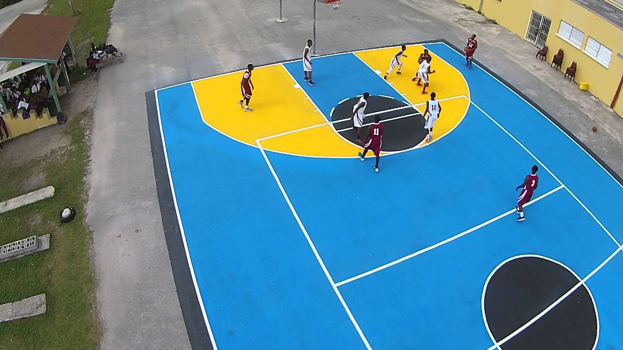 St georges 39 high school freeport basketball court make for Cheapest way to make a basketball court