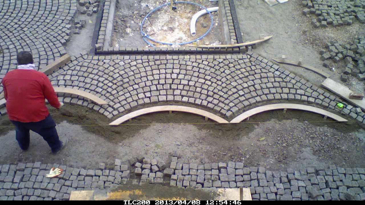 Granite Setts Being Laid To A Country House Courtyard