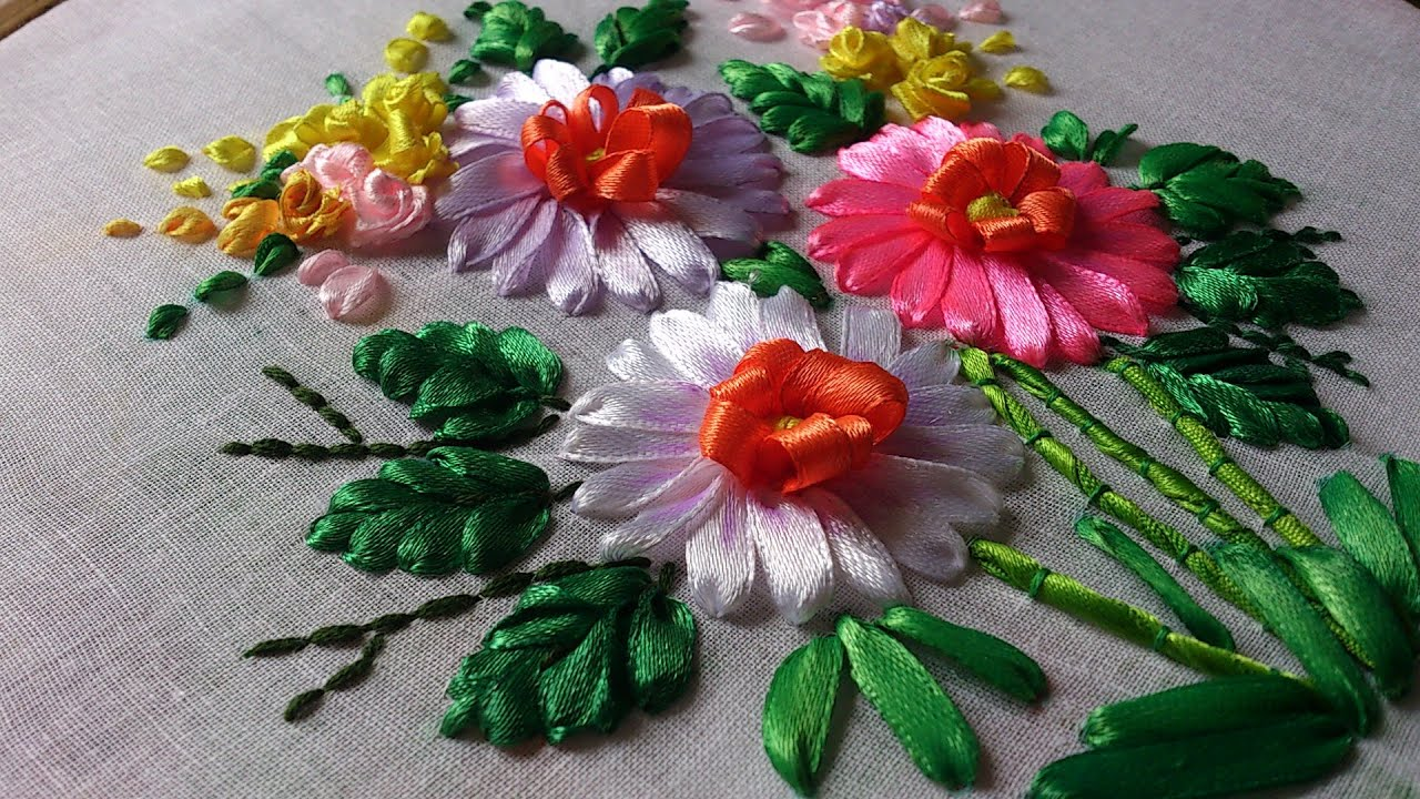 Ribbon work bed sheets designs - Hand Embroidery Designs Hand Embroidery Stitches Tutorial Ribbon Embroidery
