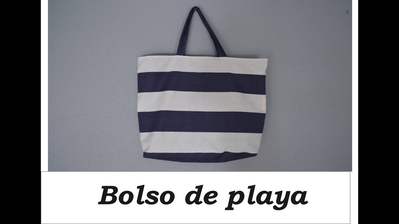 c9256a85008 Bolso de playa con bolsillos DIY - YouTube