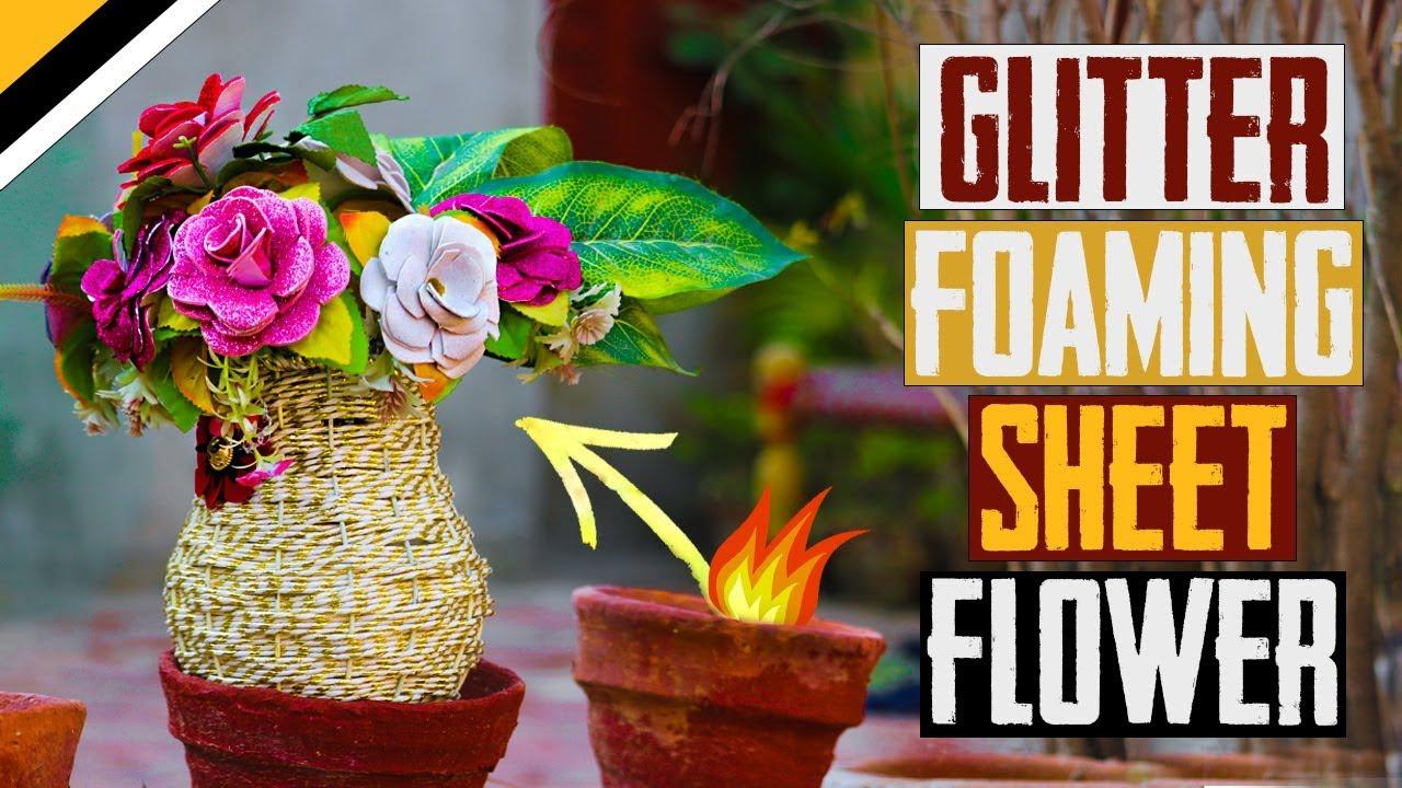 glitter foaming sheet flower