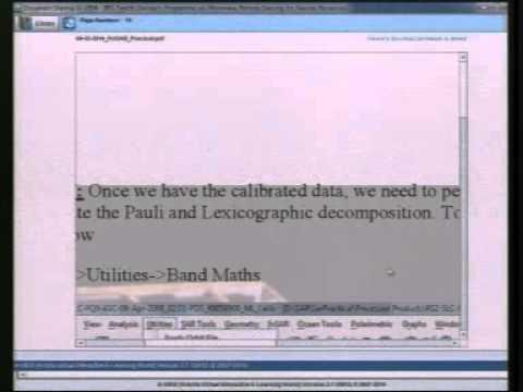 04  03  2014 Practical in  SAR Polarimetry by Shashi Kumar