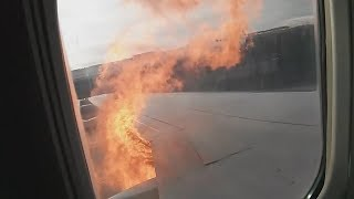 Plane Engine Catches Fire