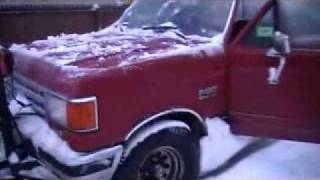 Cold start 87 Ford F150 plow truck