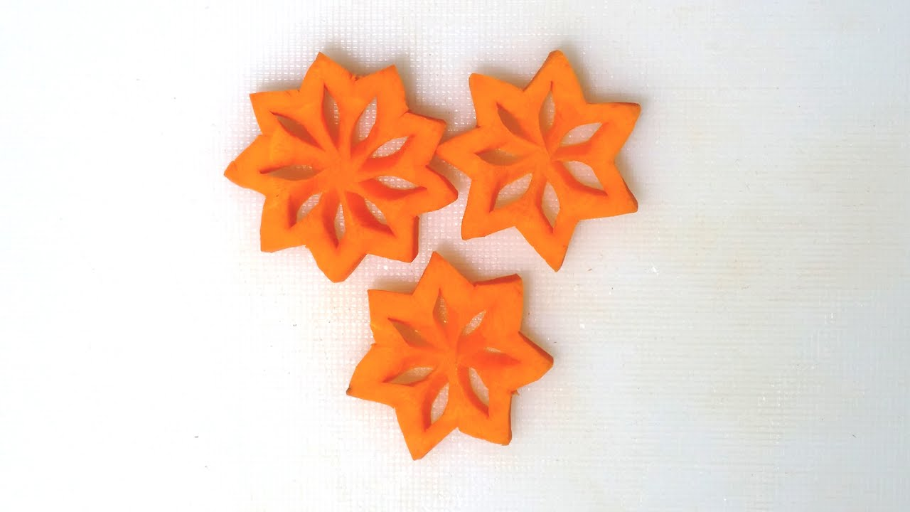 How To Carve Christmas Star Carrot - Fruit Vegetable Carving & Cutting Ideas