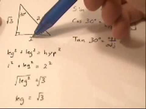 Trig-- Evaluating Sin Cos Tan of 30 60 degrees