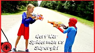 Nerf War Spiderman Vs Supergirl superhero real life movie marvel spiderman vs dc girl SuperHeroKids