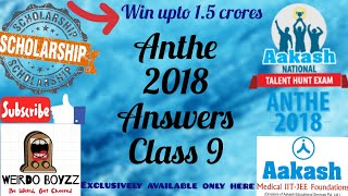 ANTHE 2018 Answers | Class 9 | 28 Oct, 2018 | Questions and Answer Key | All Codes