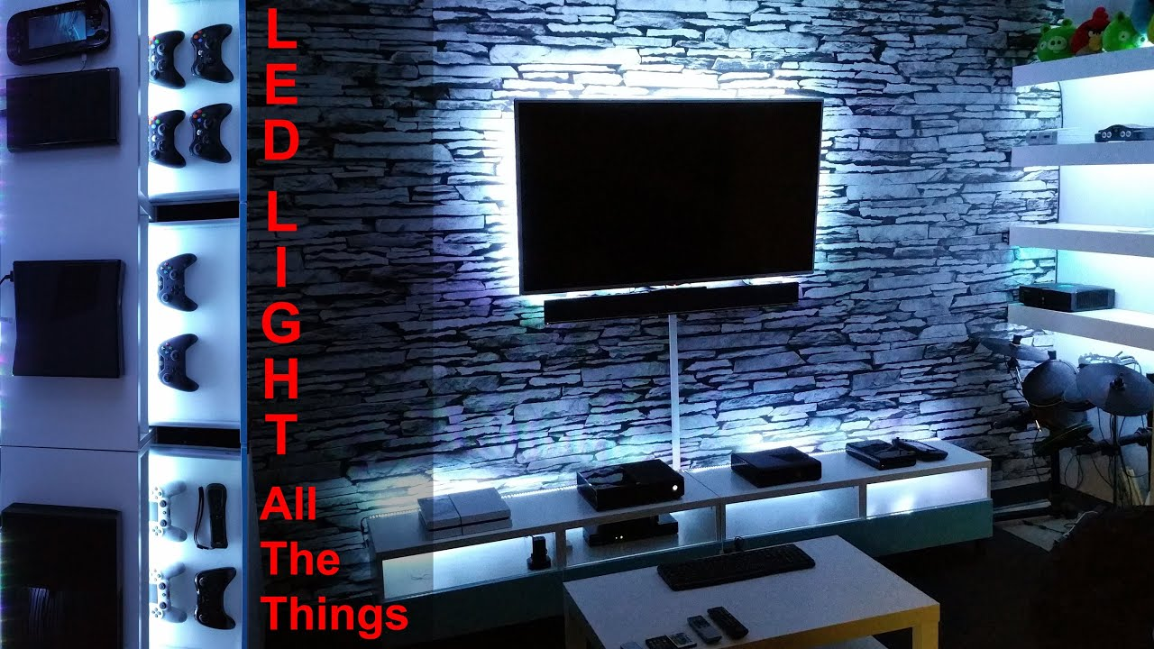 Project game room vlog 04 diy led light all the for Room decor led lights