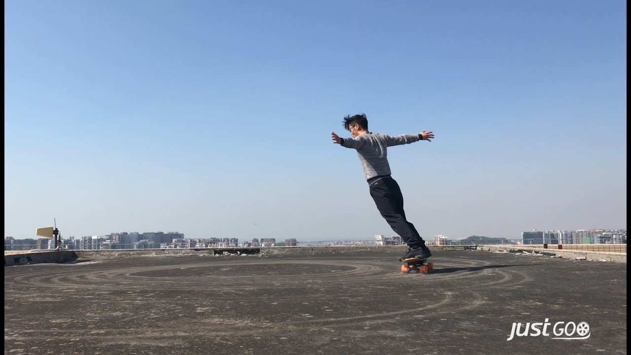 Best electric skateboardesk8 performance test on the roofheight over 100 meters  YouTube