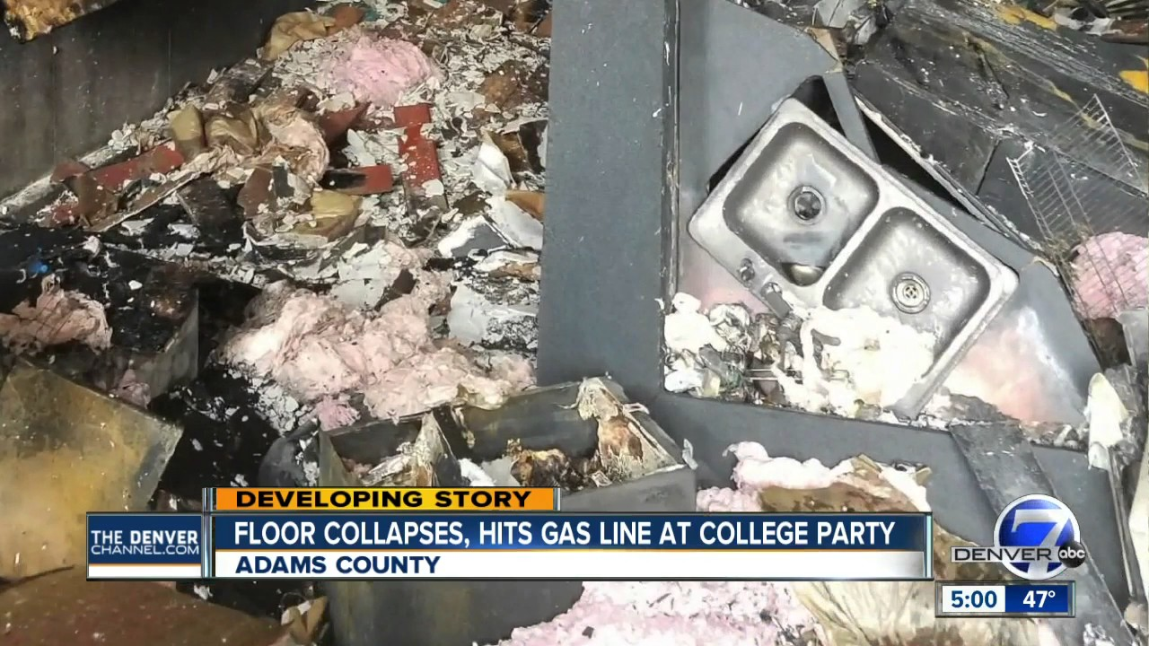 Floor collapses, hits gas line at
