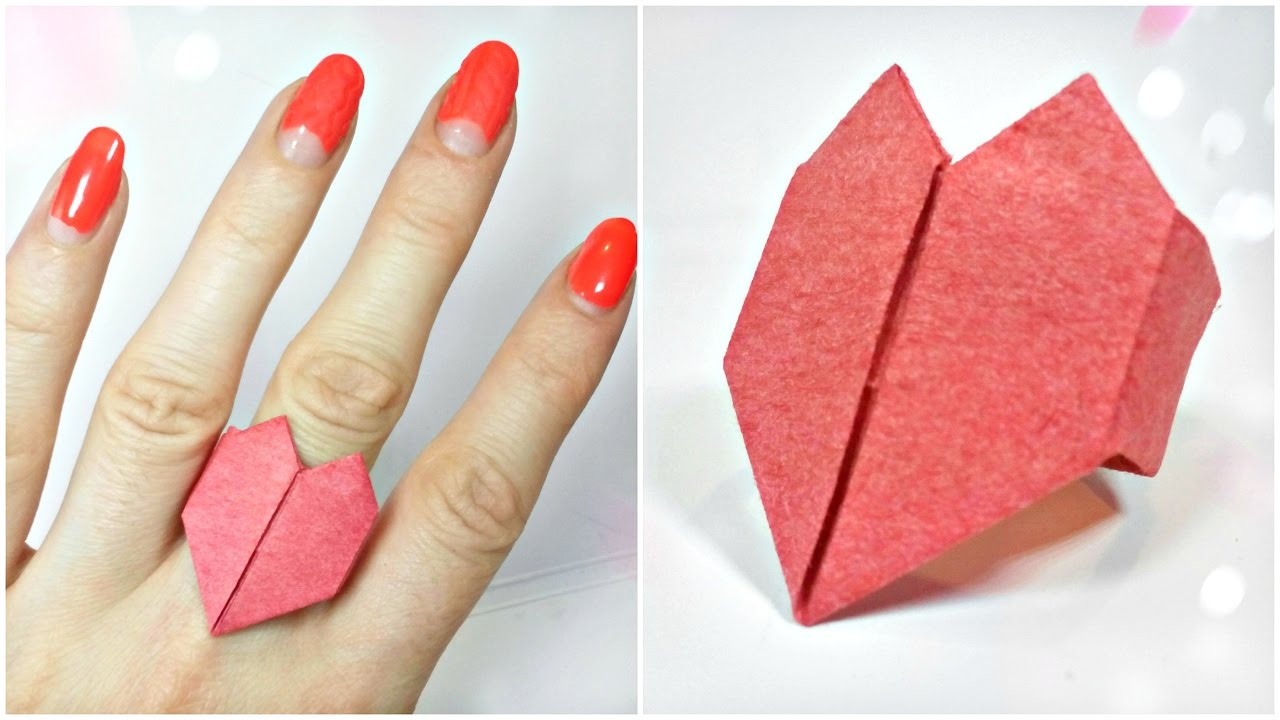 3d Origami Valentine Love Heart Ring Paper Easy Tutorial For